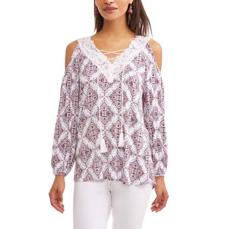3e680eef285b85 Time and Tru Women s Long Sleeve Cold Shoulder Peasant Top - Walmart ...