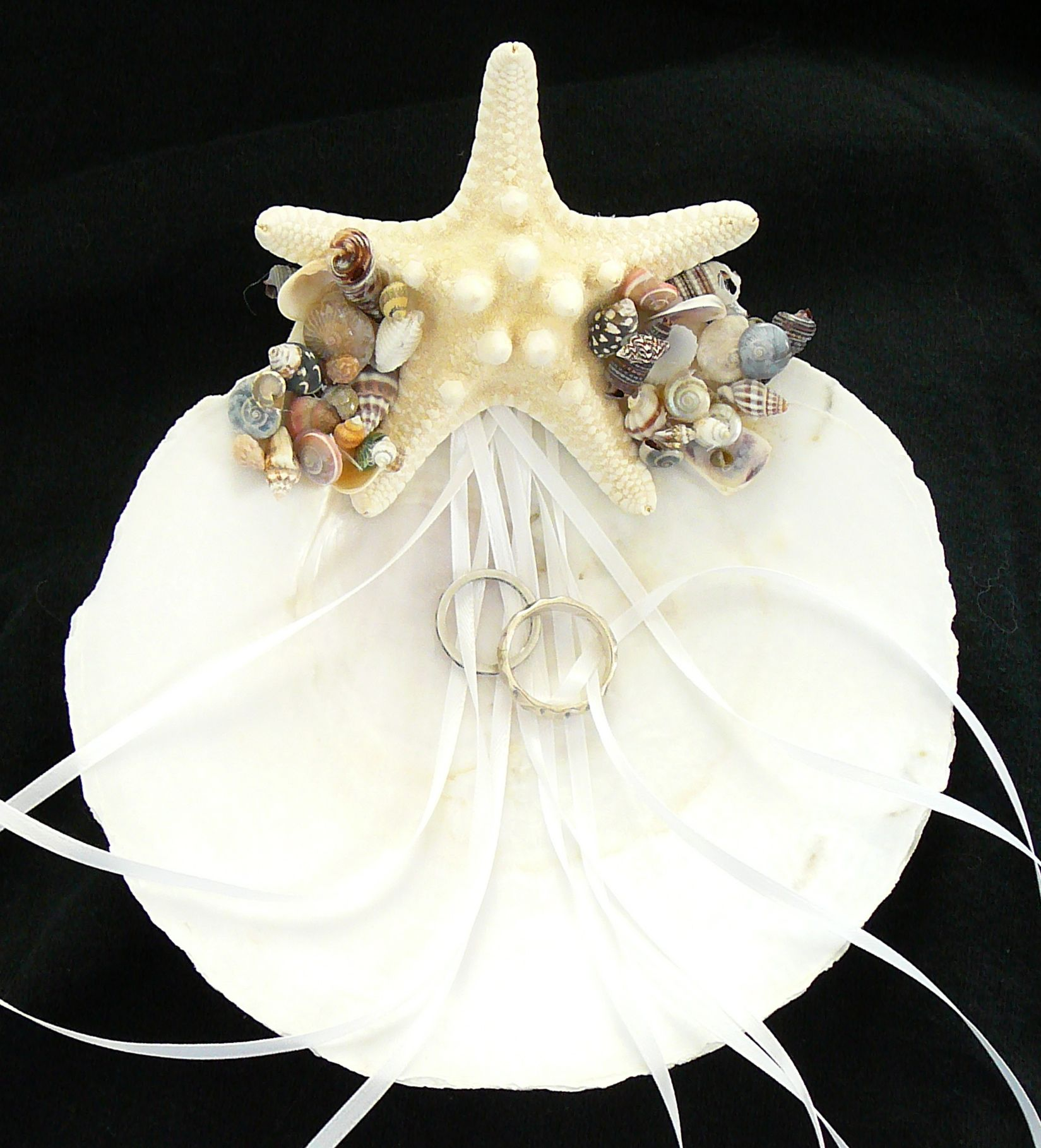 Wedding Ring Holder made from scallop shell starfish and mini