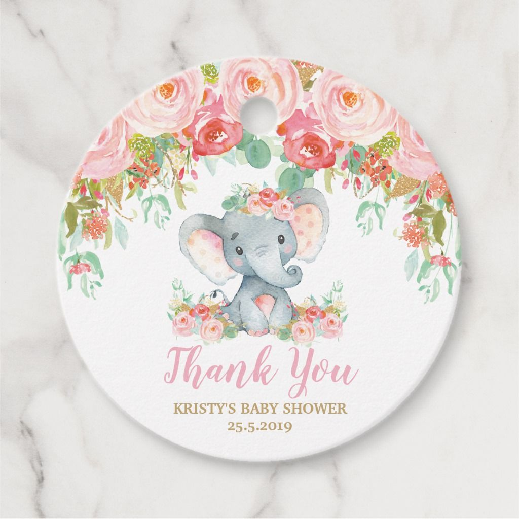 Blush Pink Floral Elephant Baby Shower Thank You Favor