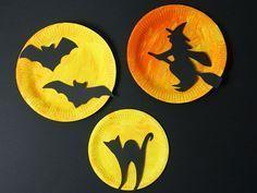 Originelle Halloween Deko aus Papptellern basteln – Anleitung                   …