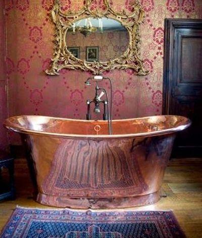 Rose Gold. Copper. Yellow Gold. Claw Foot Bathtub. Mirror.
