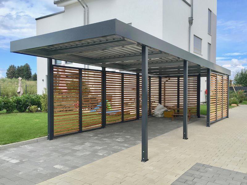 Carport Aus Metall Mit Flachdach Carport Terrasse Carport Metall Uberdachung Holz