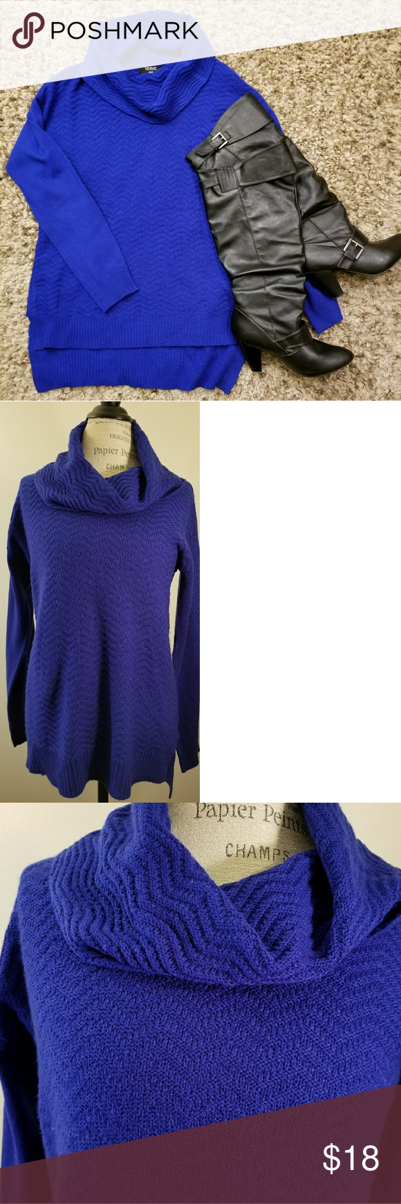Cowl Neck Sweater- Royal Blue | Royal blue sweater, Blue sweaters ...