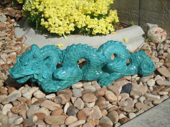 Concrete Dragon Garden Statue By Concreteyarddecor On Etsy