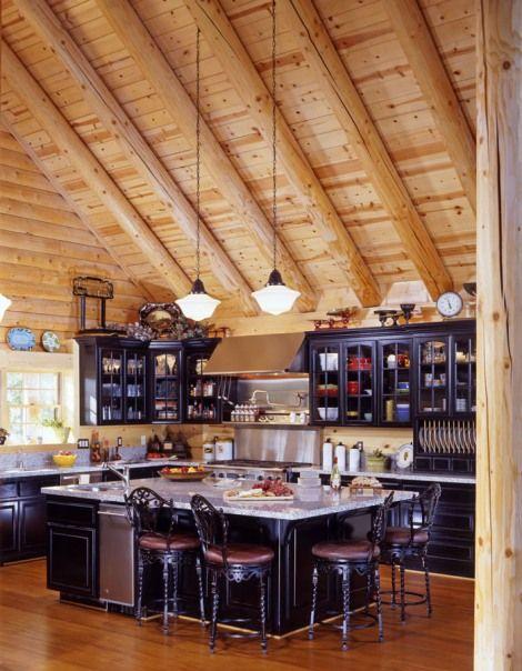 Real Log Style Log Home Plans Design And Decor Log Home Kitchens Log Home Interiors Log Cabin Kitchens