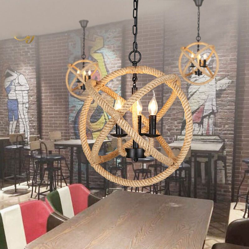 75 99 Industrial Rope Chandelier 3 Light Hanging Fixture Orb Vintage Round Ball Cage