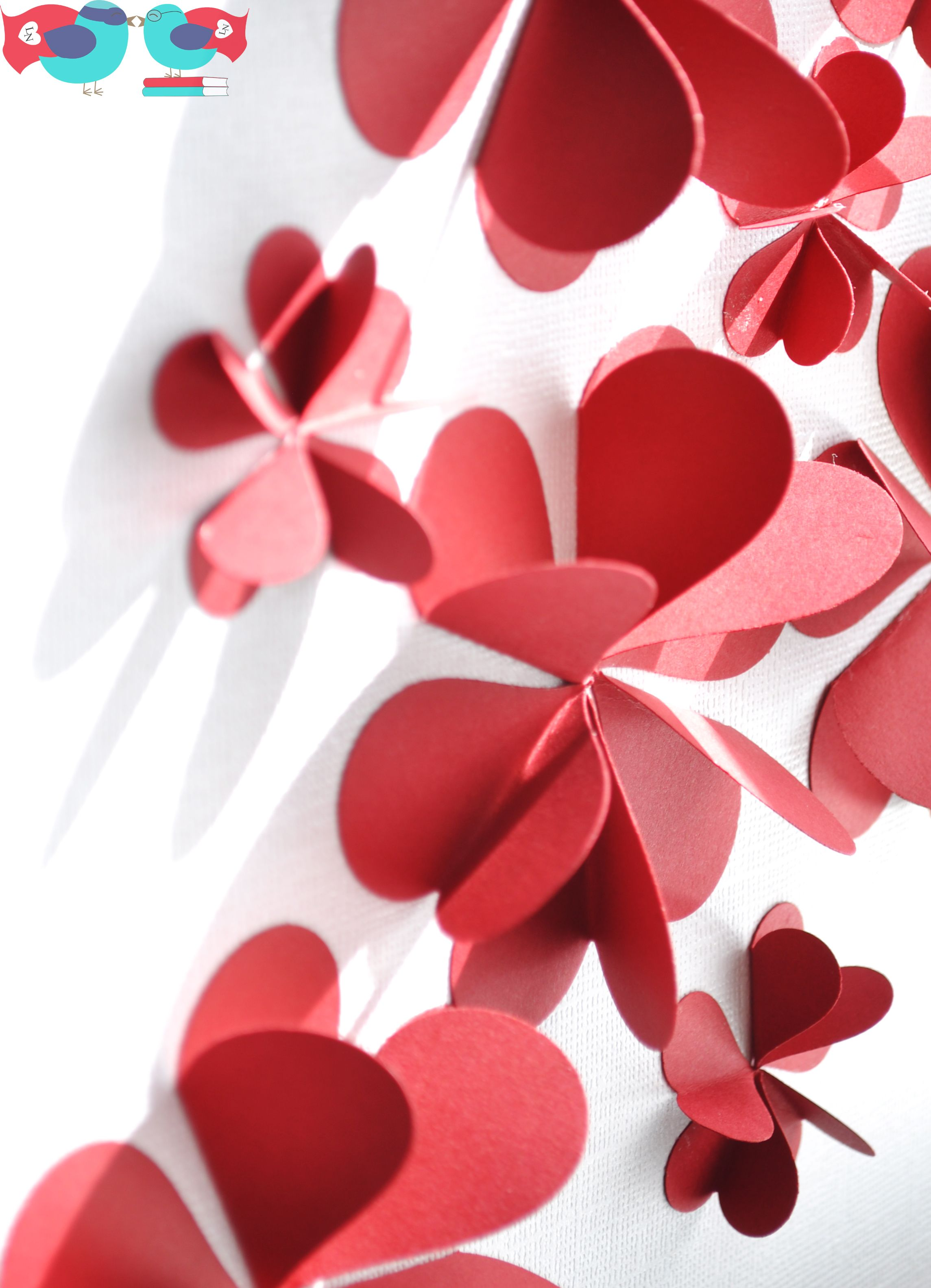 3d flower art using paper hearts 3d paper flower art for Diy 3d art