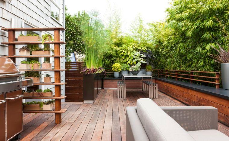 de madera para el jardín - maceteros para jardin