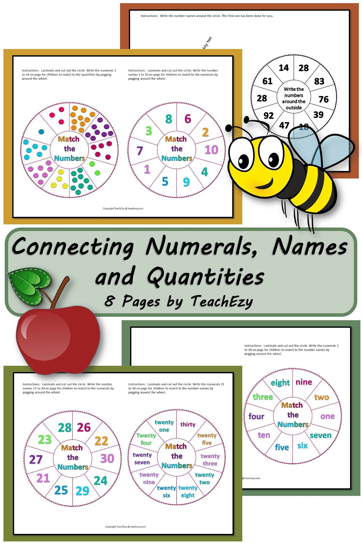 Connecting Numerals Names And Quantities 8 Pages By