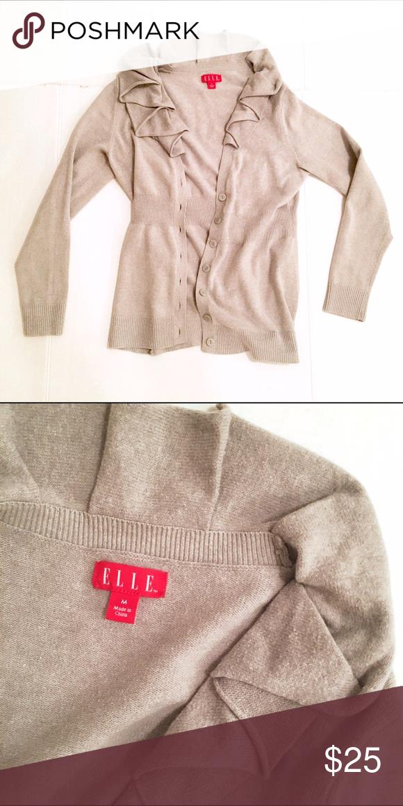 Grey ruffle cardigan. Size M. Elle. Grey ruffle cardigan. Size M. Elle. Elle Sweaters Cardigans