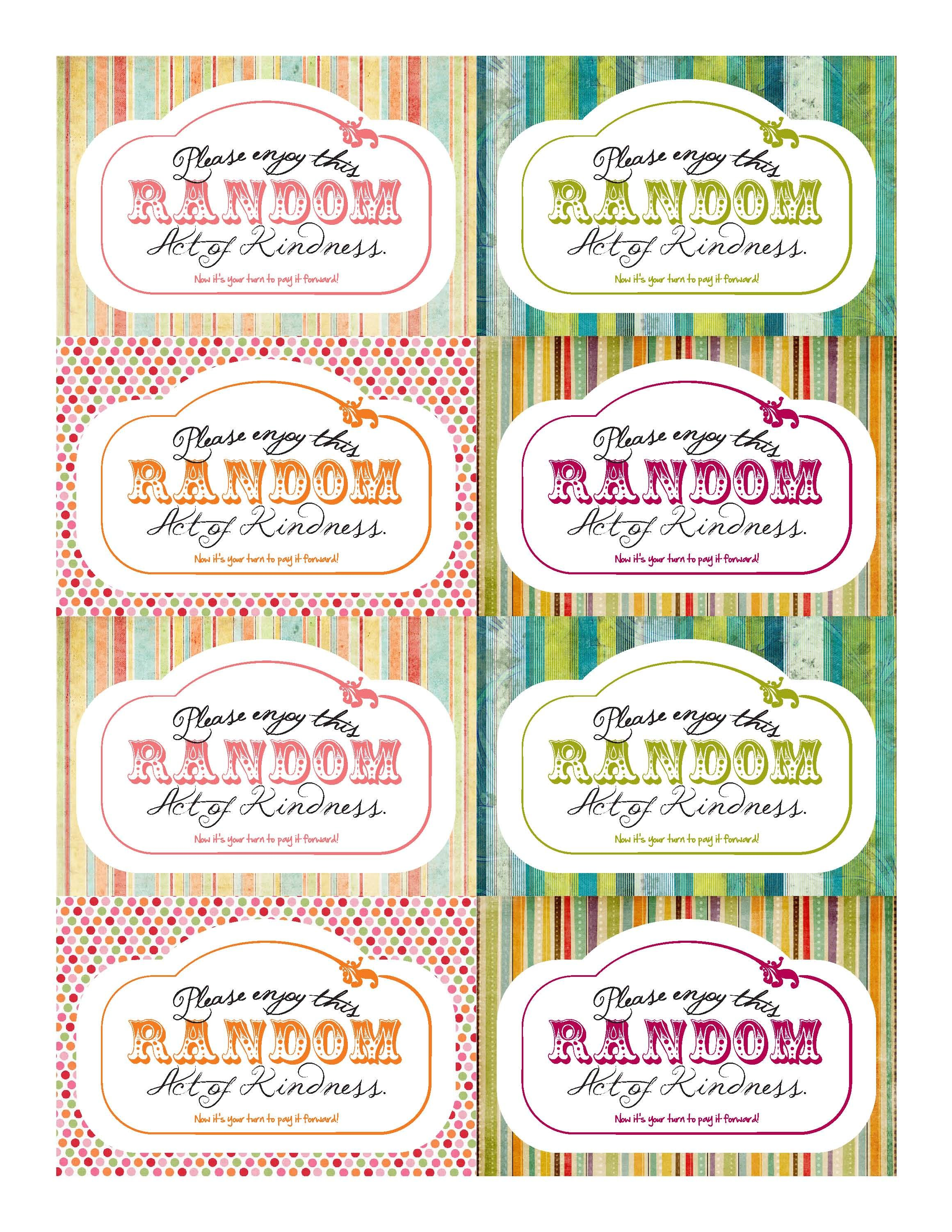 Darling Printable Random Acts Of Kindness Cards I M Inspired To Practice More Of This