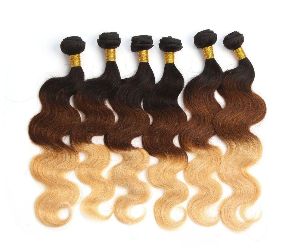 3tone 1b3327 Brazilian Real Human Hair Extension Full Head Ombre