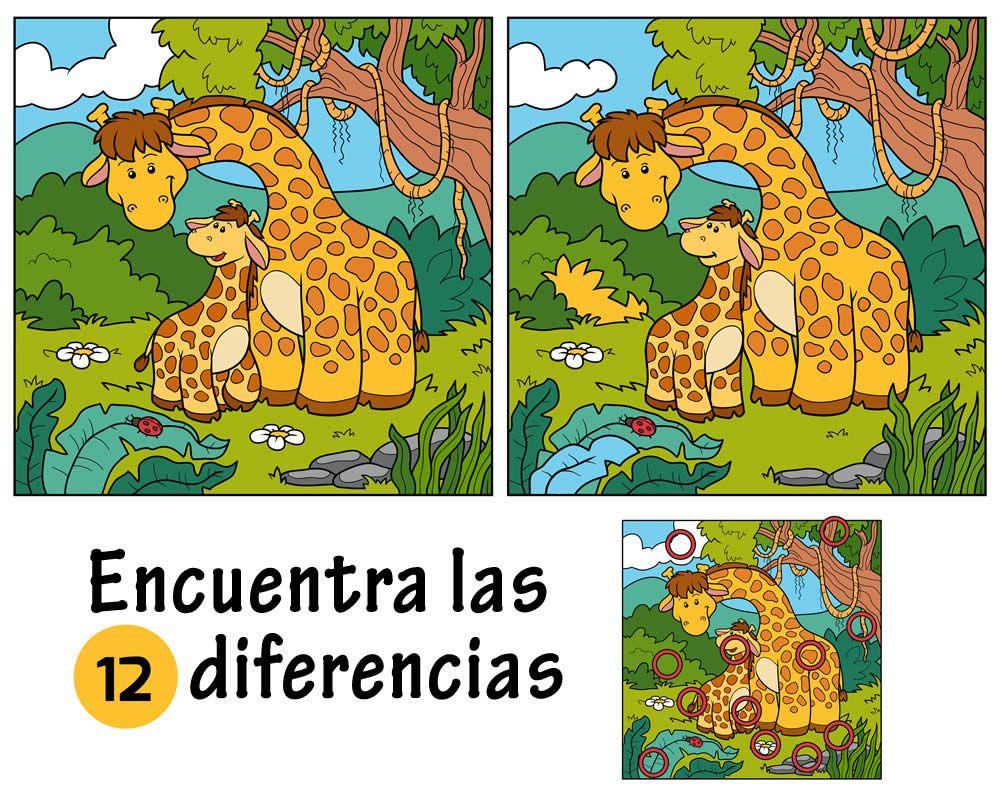 Encuentra Las Diferencias De La Jirafa Jpg 1 000 800 Pixeles Juegos De Buscar Diferencias Juegos De Diferencias Encuentra Las Diferencias