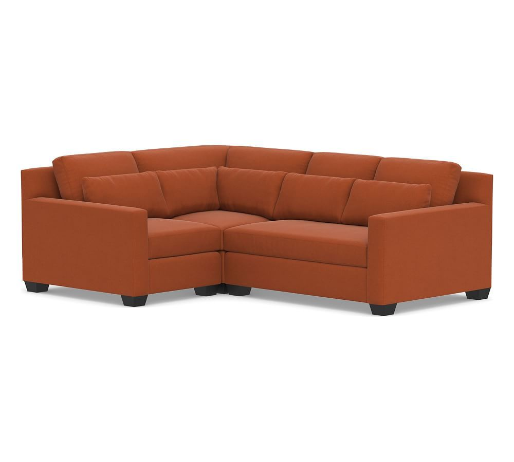 York Square Arm Deep Seat Upholstered 3 Piece Sectional