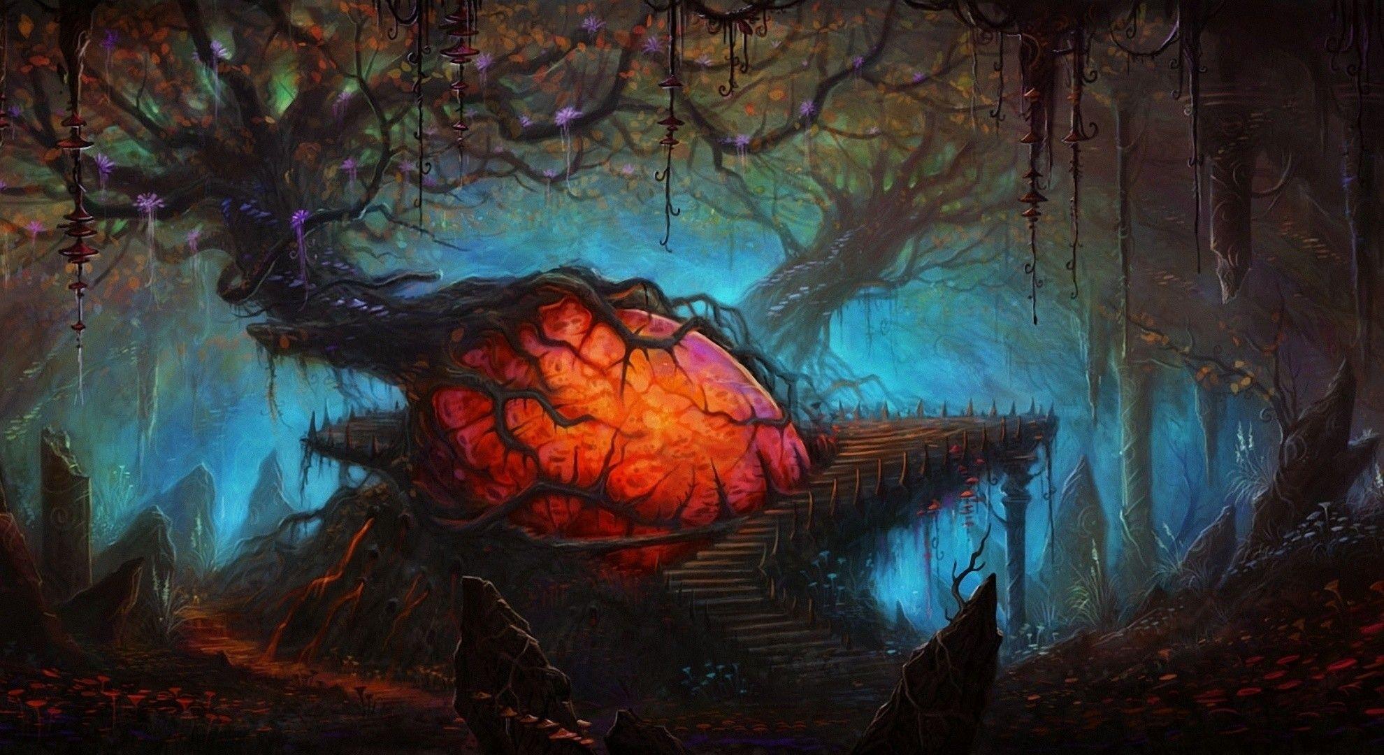 1980x1080 Fantasy Landscape Spooky Creepy Forest Dark Wallpaper Fantasy Landscape Landscape Fantastic Art