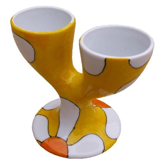 Yellow Daisy Double Egg Cup Hand Painted Porcelain