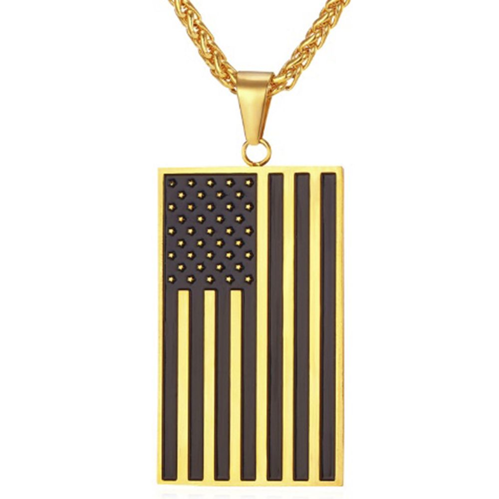 Check out our American Flag Necklace 18K Gold Plated USA Symbol Pendant!