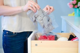 Keep hosiery from snagging by storing them individually in zip bags.