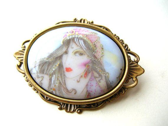 Gypsy Brooch - Fortune Teller Brooch - Gypsy Lady - Gypsy Jewelry by BohemianGypsyCaravan
