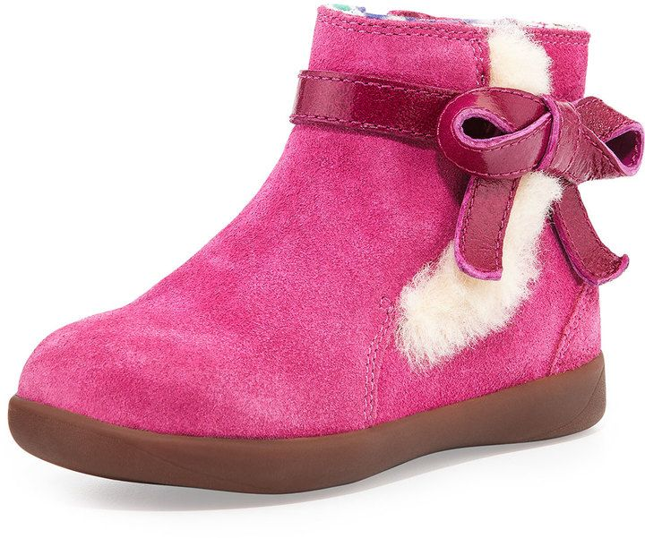 4abc8c9bb82 UGG Australia Libbie Suede Bootie with Bow, Fuchsia, Toddler ...