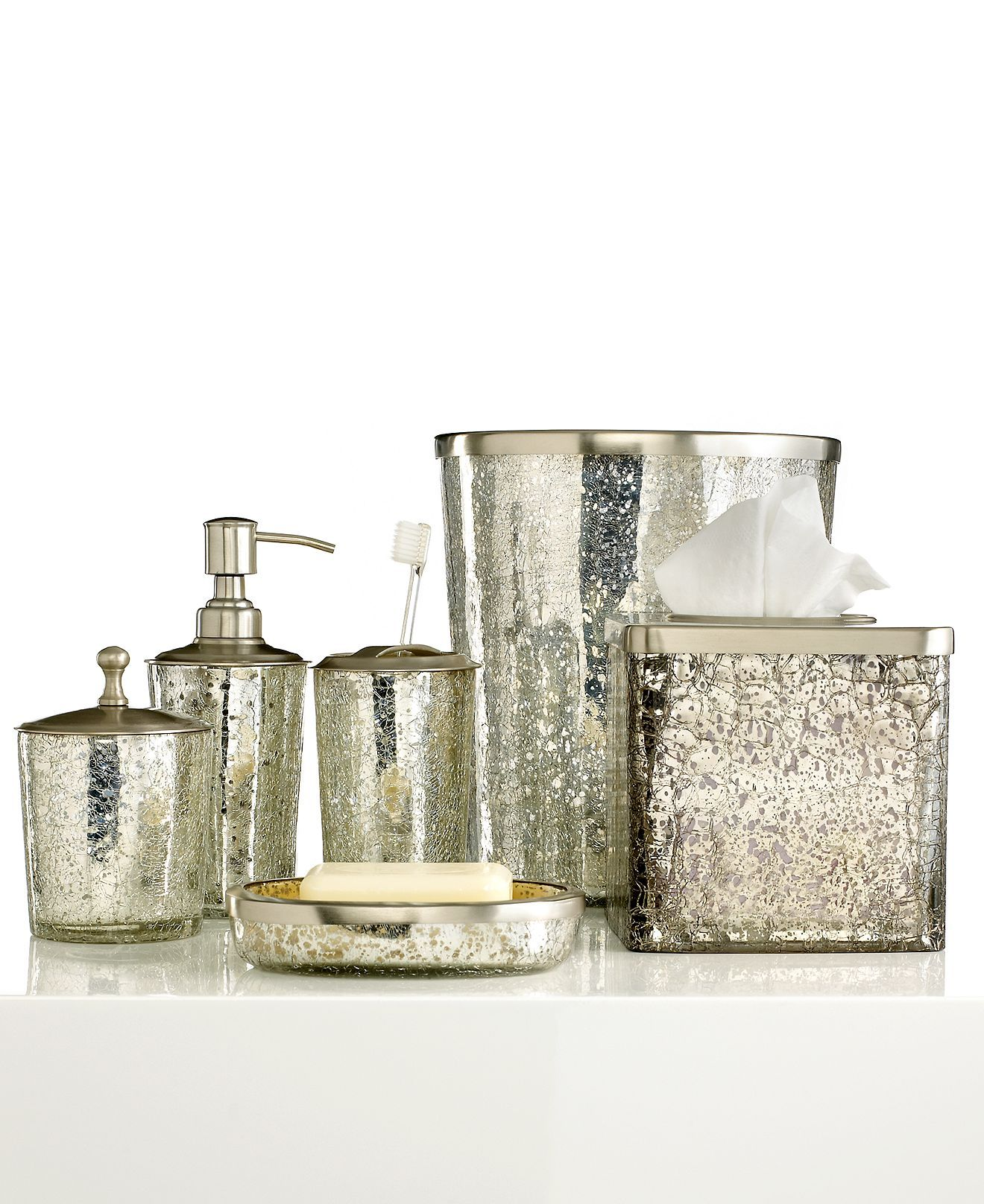 Bath Accessories, Crackle Glass Ice Trash Can | bathrooms ...