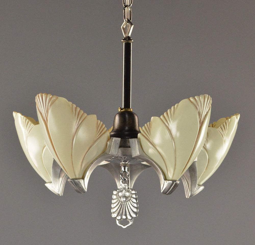 Art Deco Slipper Shade Chandelier C1930 Vintage Antique Silver Slip Ceiling