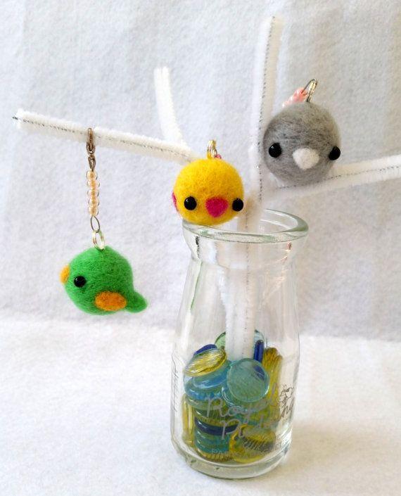 Needlefelt Bird Charm Kawaii Bird Charm Bird Charm by dazedcrafter