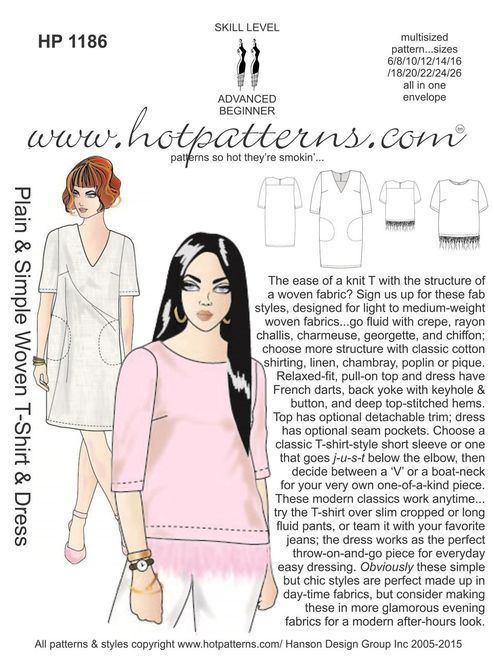 HP 1186 Plain & Simple Woven T-Shirt & Dress | Sewing Patterns I Own ...