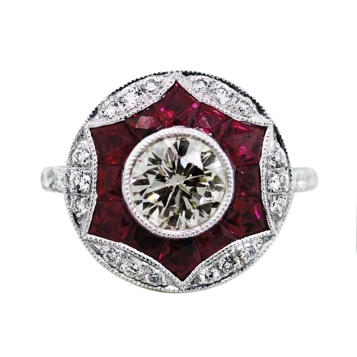 70 Carat Round Diamond Ruby And Platinum Vintage Style Engagement Ring