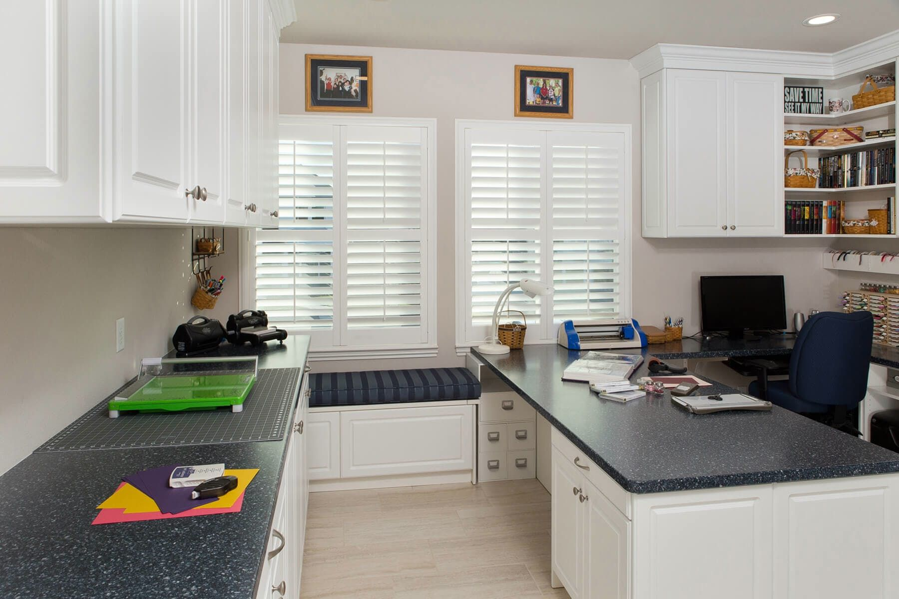 Here a contrasting countertop and decorative doors add interest to this craft…