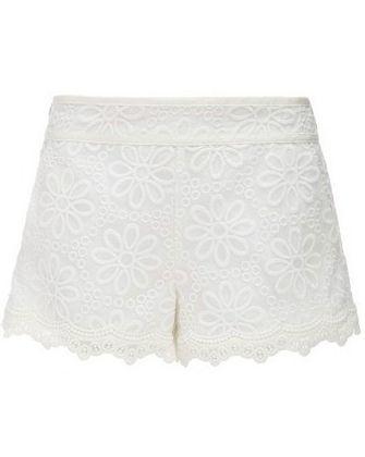 White Mid Waist Embroidery Chiffon Shorts #chiffonshorts White Mid Waist Embroidery Chiffon Shorts #chiffonshorts