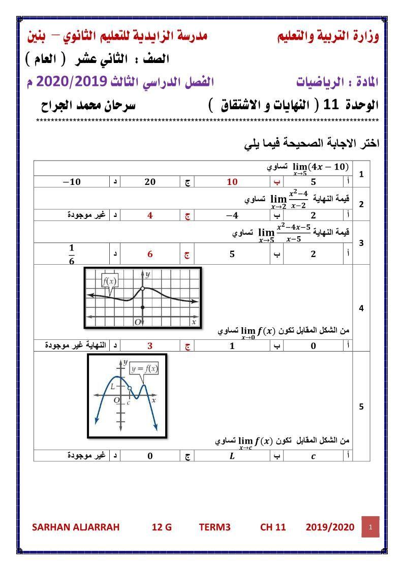 الرياضيات المتكاملة أوراق عمل النهايات و الاشتقاق للصف الثاني عشر عام مع الإجابات 1 J Periodic Table Gwn