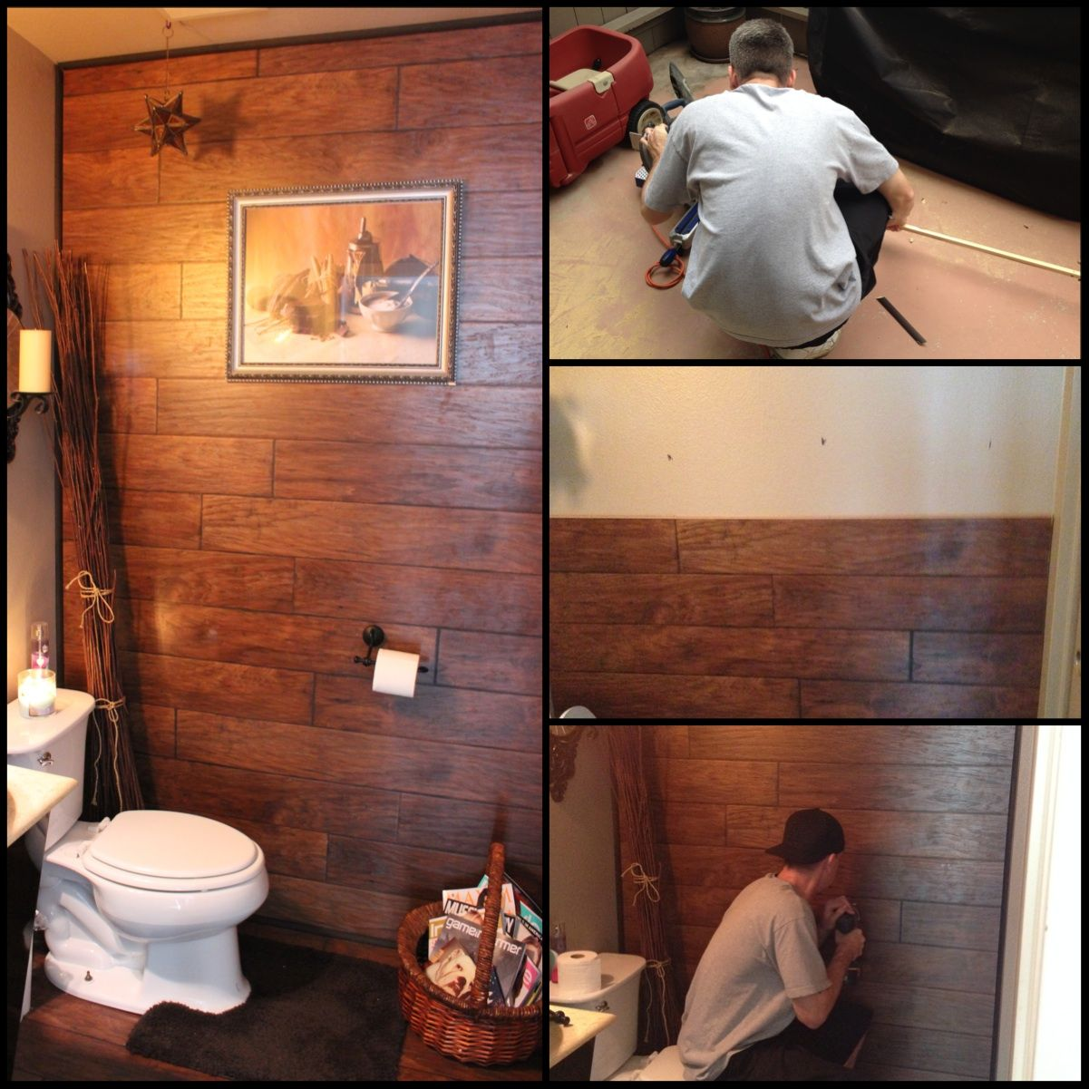 My husband used some leftover laminate flooring we had to - Laminate tiles for bathroom walls ...