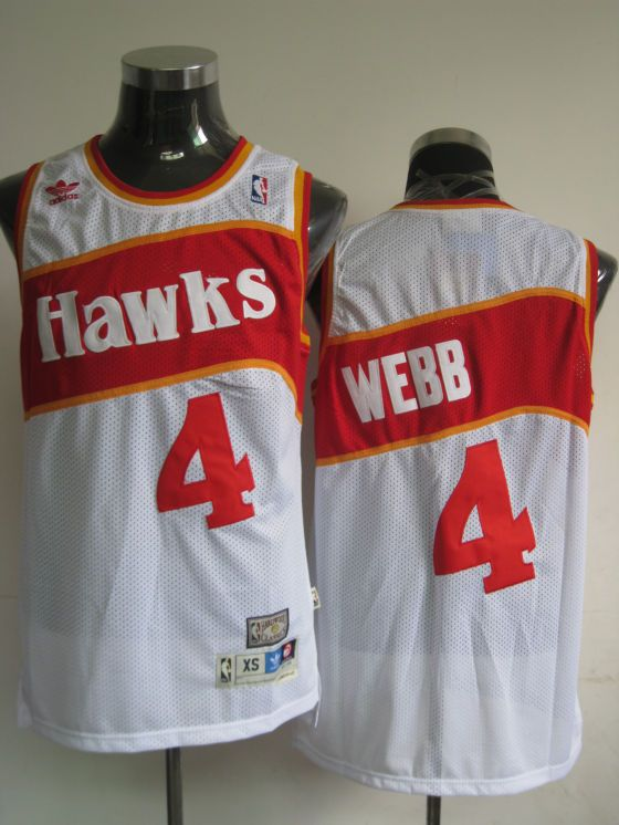 dc23cce970b Hawks  4 Spud Webb White Stitched Throwback NBA Jersey