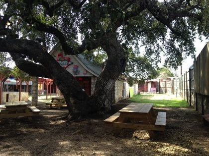 Hill's Cafe and backyard in South Austin