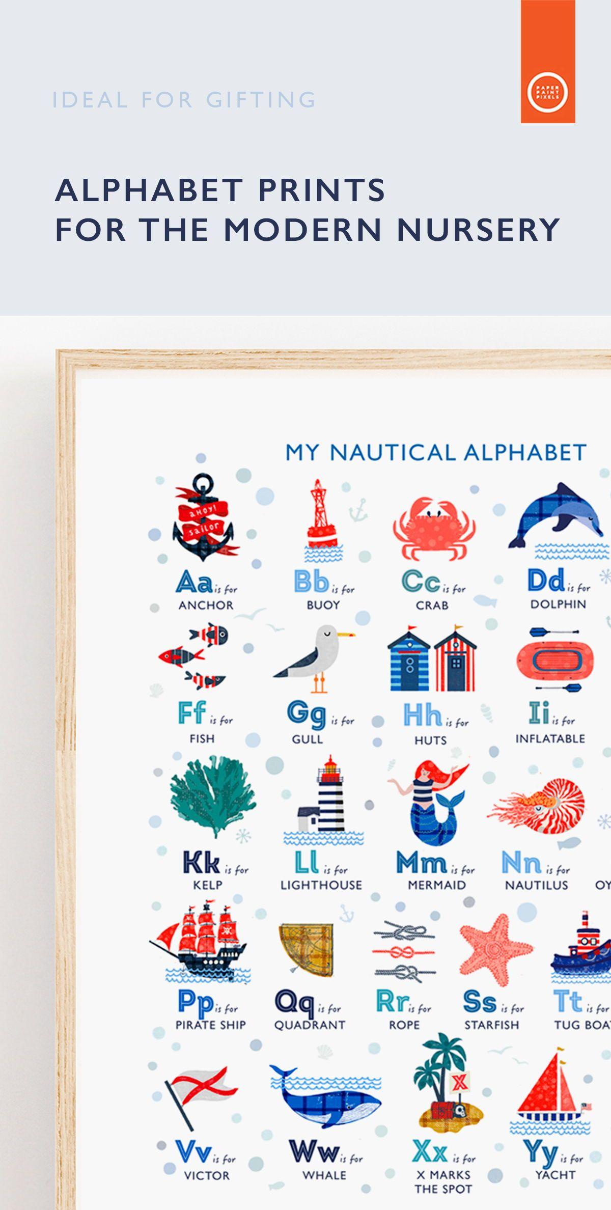 Nautical Alphabet Print Ocean Theme Nursery Wall Art Can