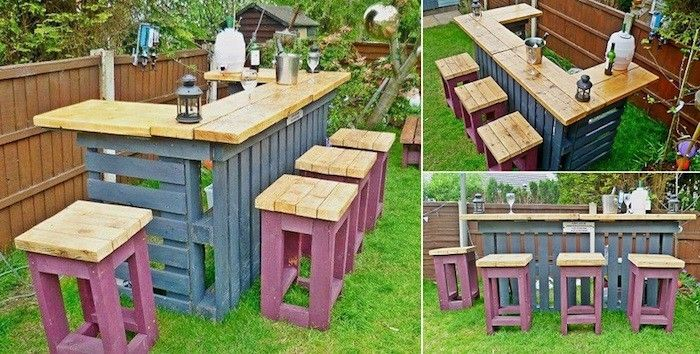 Salon de jardin en palette design idée meubles en bois palettes fabriquer canapé extérieur construire bar terrasse chaise haute peinture mauve vernis