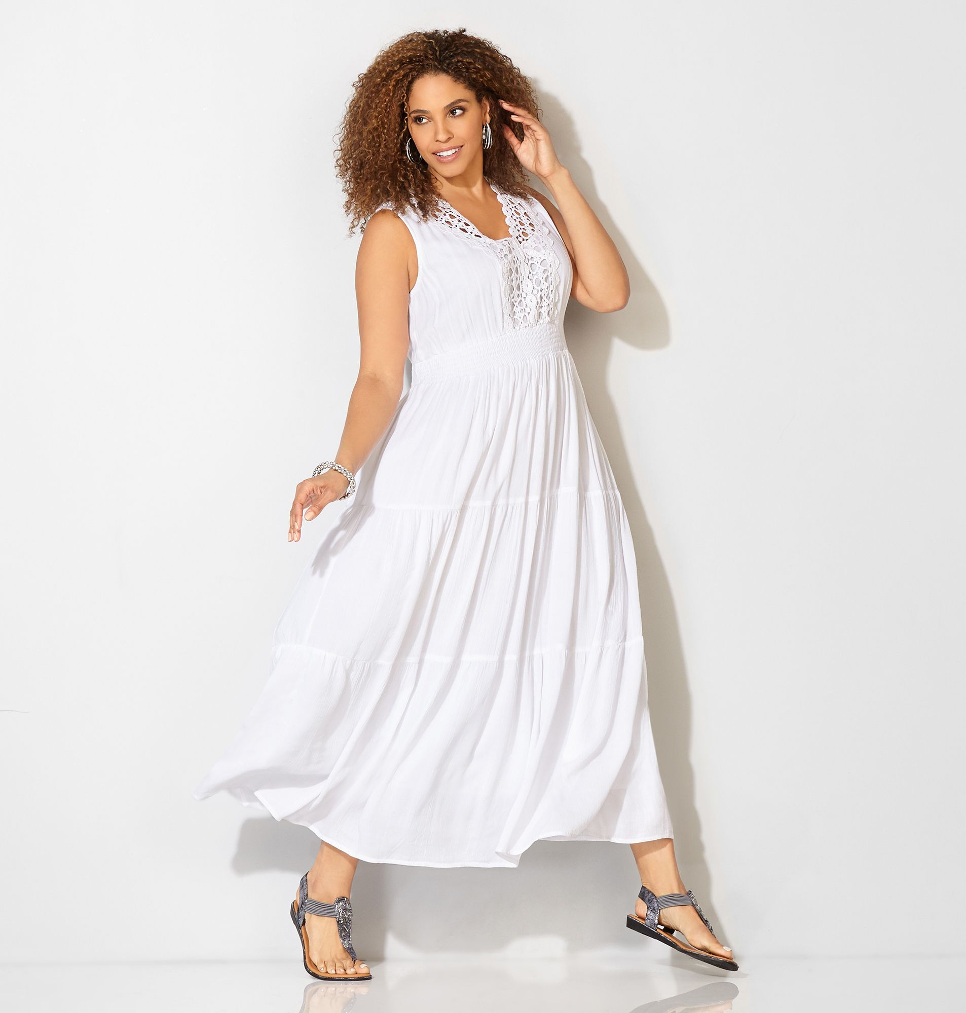 White Crochet Trim Sundress (plus size) #plussize #fashion ...