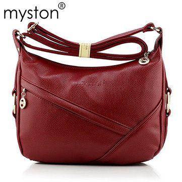 Myston Women Elegant PU Leather Handbag Leisure Shoulder Crossbody Bag