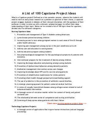 List Of 100 Best Capstone Project Ideas Capstone Project Ideas Senior Project Nursing Leadership