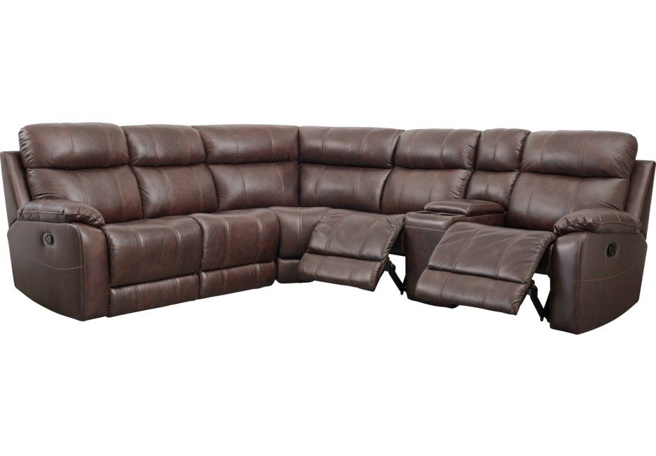 Admirable Genesio Brown Leather 3 Pc Sectional Living Room Ideas Pabps2019 Chair Design Images Pabps2019Com