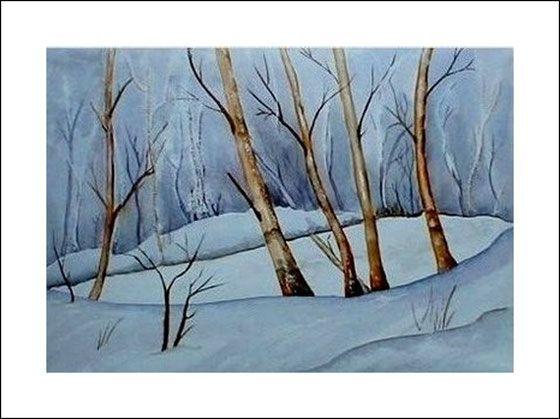 Aquarelle landschaften winterzauber aquarell - Dekoration winterzauber ...