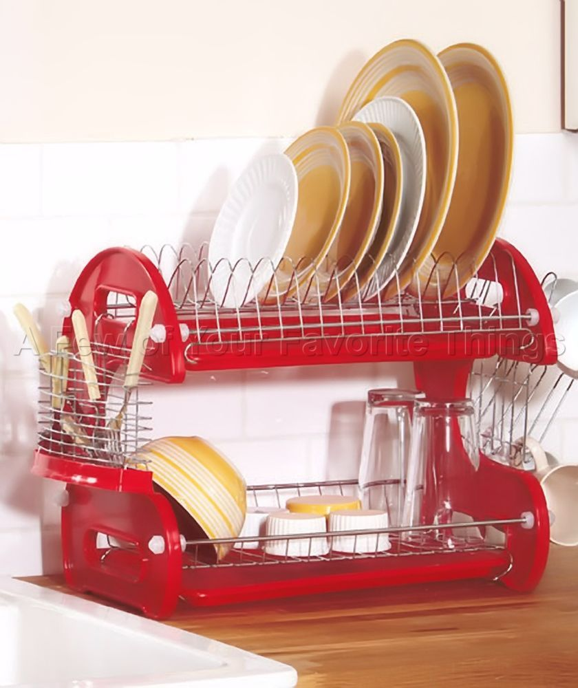 red 2 tier space saving dish dryer drainer kitchen rack dishwashing storage small living. Black Bedroom Furniture Sets. Home Design Ideas