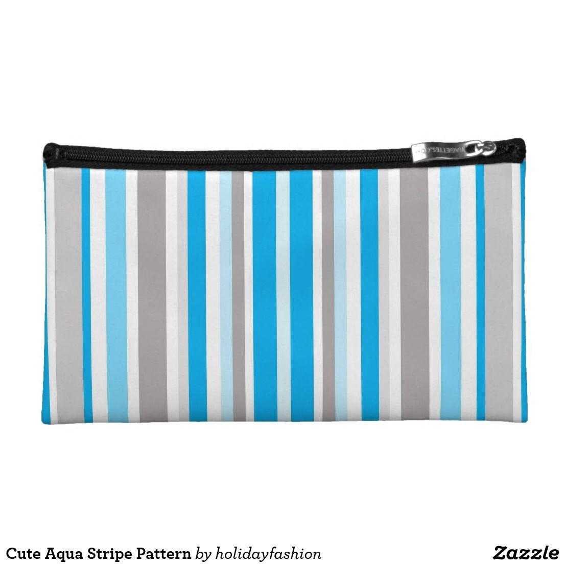Cute Aqua Stripe Pattern Makeup Bag   Zazzle.com (With ...