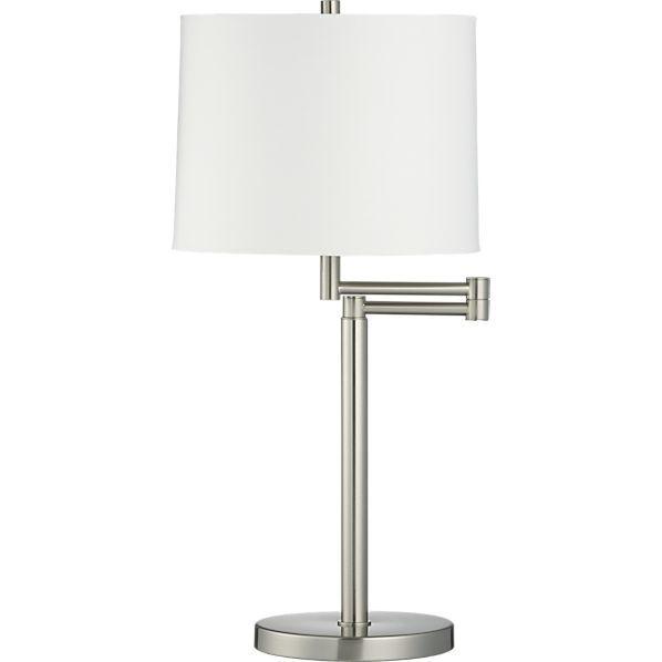 Metro Ii Brushed Nickel Swing Arm Table Lamp Reviews Crate And Barrel Nickel Table Lamps Table Lamp Lamp