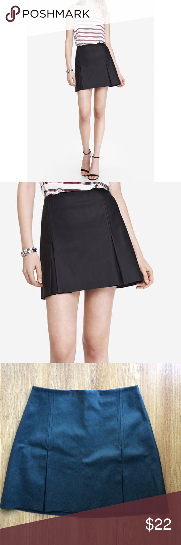 f6a17882b Express faux leather skirt mini vegan pleated 4 Like new Express mini skirt  a-line pleated front. Back zipper. Classic black. Waist 28