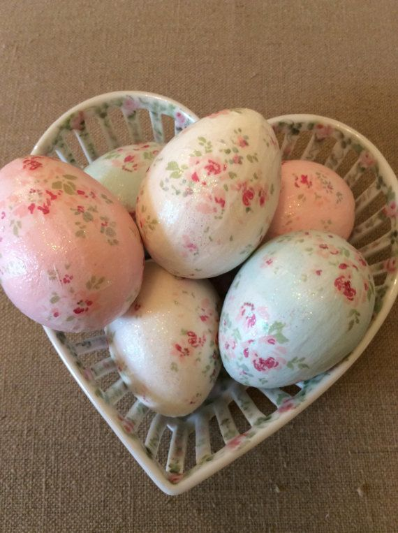 RA Rose Tissue Decoupage Easter Eggs / set of 6 by ThePinkPair
