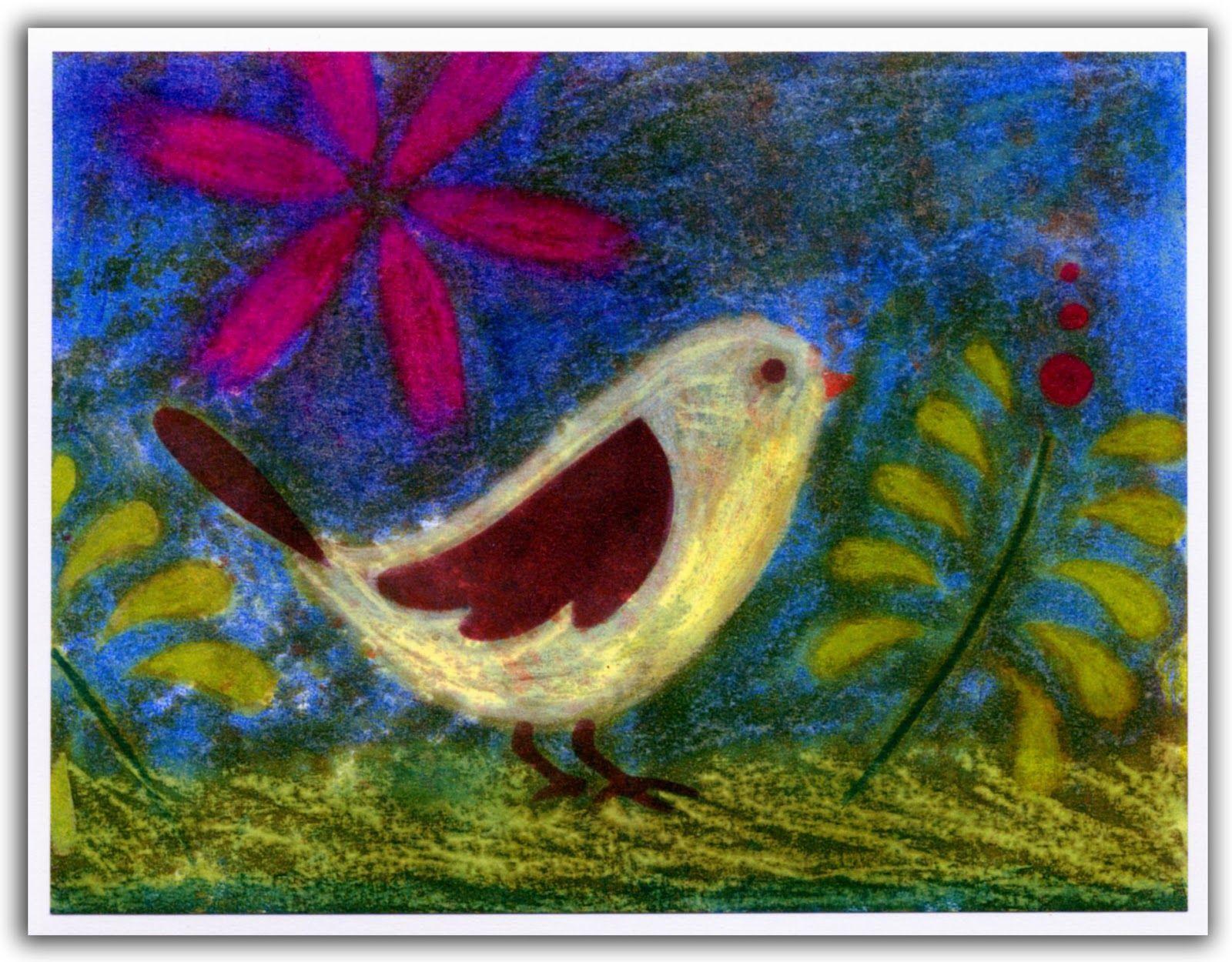l'oiseau et sa fleur rosehélène métivier | inspirational art