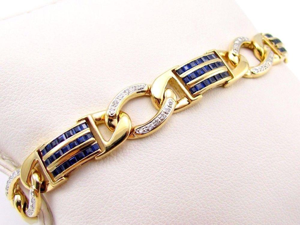 Blue Sapphire & Diamond Fancy Curb Link Bracelet 18K Yellow Gold | FJ TAI