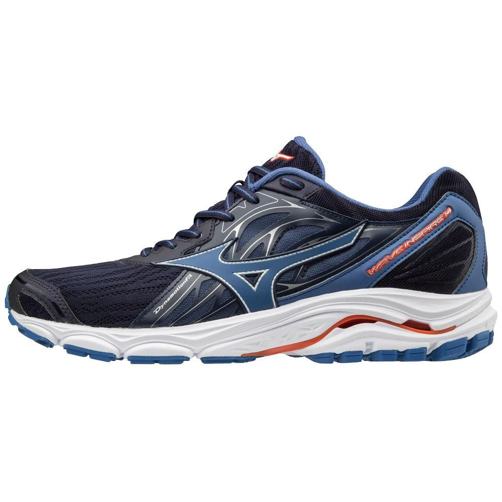 Mizuno Mens Running Shoes Men S Wave Inspire 14 410983 Size 10 Evening Blue Cherry Tomato 5v1t Running Shoes For Men Blue Shoes Man Running